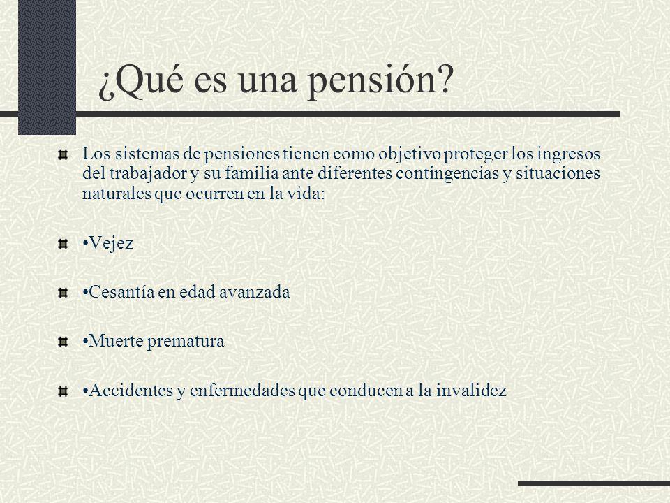 ¿Qué es una pensión? Los sistemas de pensiones tienen como objetivo proteger los ingresos del trabajador y su familia ante diferentes contingencias y