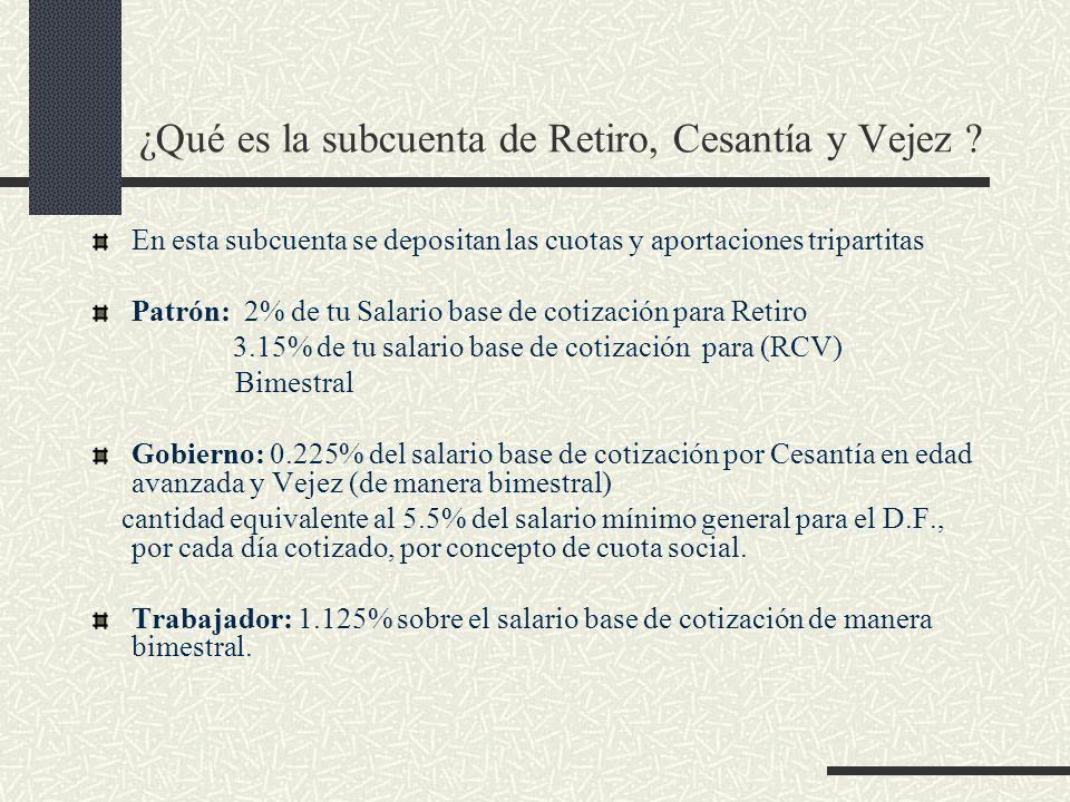 ¿Qué es la subcuenta de Retiro, Cesantía y Vejez ? En esta subcuenta se depositan las cuotas y aportaciones tripartitas Patrón: 2% de tu Salario base