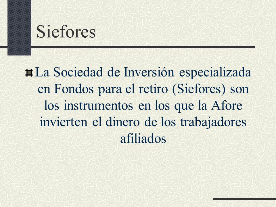 Siefores La Sociedad de Inversión especializada en Fondos para el retiro (Siefores) son los instrumentos en los que la Afore invierten el dinero de lo