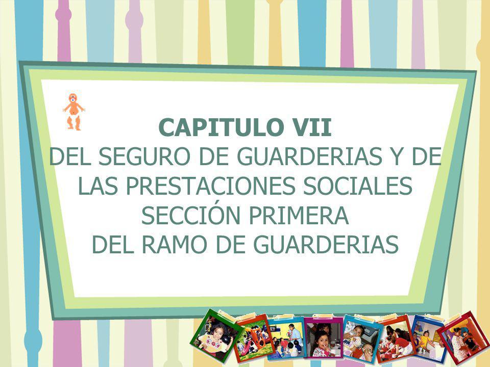 CAPITULO VII DEL SEGURO DE GUARDERIAS Y DE LAS PRESTACIONES SOCIALES SECCIÓN PRIMERA DEL RAMO DE GUARDERIAS