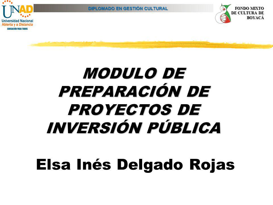 DIPLOMADO EN GESTIÓN CULTURAL FONDO MIXTO DE CULTURA DE BOYACÁ MODULO DE PREPARACIÓN DE PROYECTOS DE INVERSIÓN PÚBLICA MODULO DE PREPARACIÓN DE PROYEC