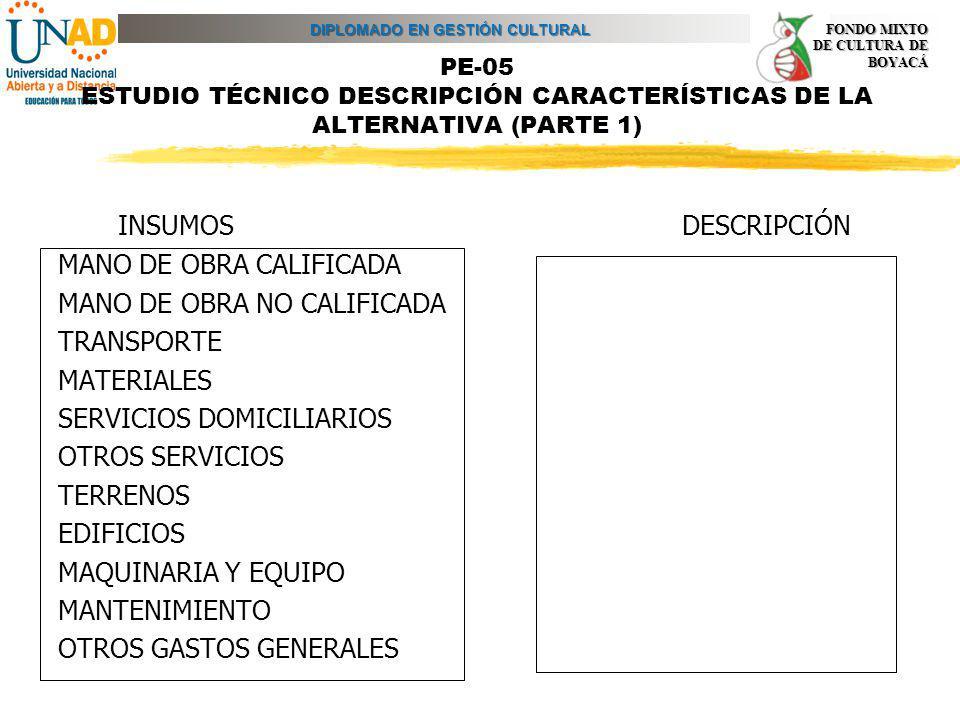 DIPLOMADO EN GESTIÓN CULTURAL FONDO MIXTO DE CULTURA DE BOYACÁ PE-05 ESTUDIO TÉCNICO DESCRIPCIÓN CARACTERÍSTICAS DE LA ALTERNATIVA (PARTE 1) INSUMOS D
