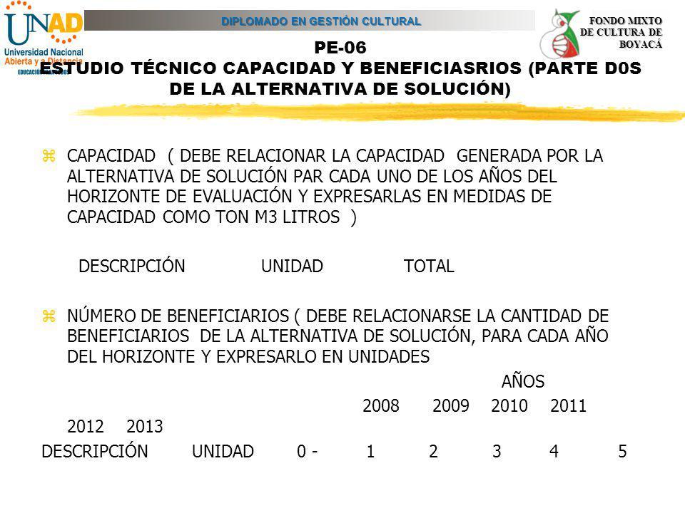 DIPLOMADO EN GESTIÓN CULTURAL FONDO MIXTO DE CULTURA DE BOYACÁ PE-06 ESTUDIO TÉCNICO CAPACIDAD Y BENEFICIASRIOS (PARTE D0S DE LA ALTERNATIVA DE SOLUCI