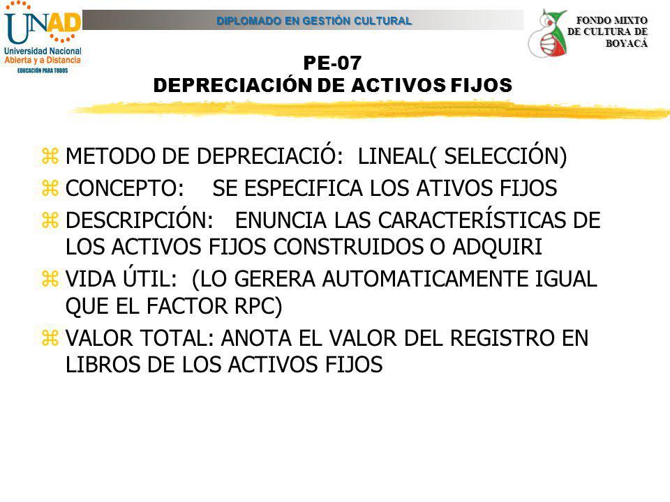 DIPLOMADO EN GESTIÓN CULTURAL FONDO MIXTO DE CULTURA DE BOYACÁ PE-07 DEPRECIACIÓN DE ACTIVOS FIJOS zMETODO DE DEPRECIACIÓ: LINEAL( SELECCIÓN) zCONCEPT