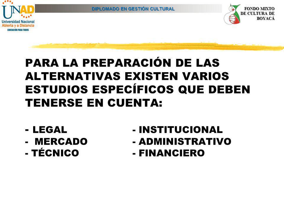 DIPLOMADO EN GESTIÓN CULTURAL FONDO MIXTO DE CULTURA DE BOYACÁ PARA LA PREPARACIÓN DE LAS ALTERNATIVAS EXISTEN VARIOS ESTUDIOS ESPECÍFICOS QUE DEBEN T