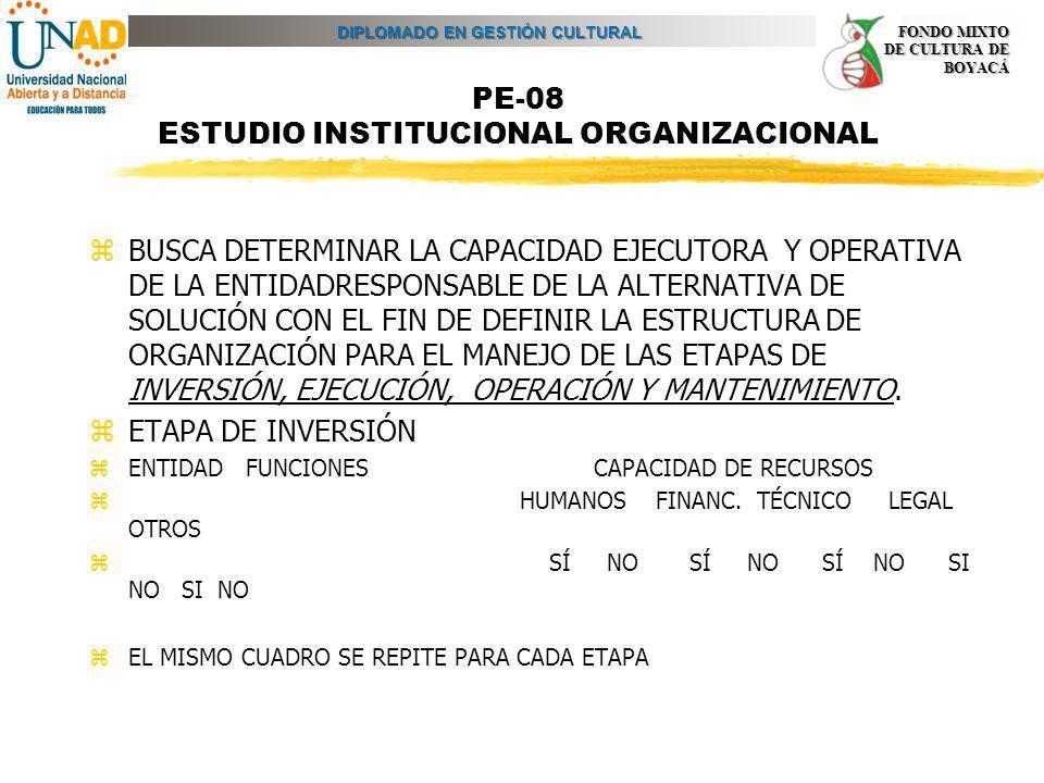 DIPLOMADO EN GESTIÓN CULTURAL FONDO MIXTO DE CULTURA DE BOYACÁ PE-08 ESTUDIO INSTITUCIONAL ORGANIZACIONAL zBUSCA DETERMINAR LA CAPACIDAD EJECUTORA Y O
