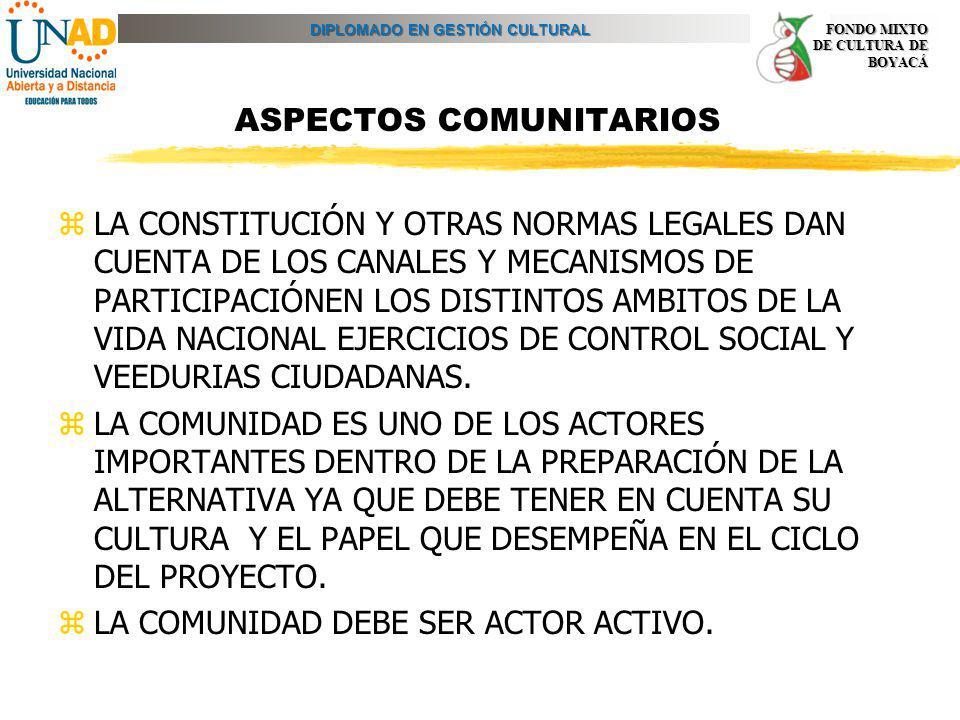 DIPLOMADO EN GESTIÓN CULTURAL FONDO MIXTO DE CULTURA DE BOYACÁ ASPECTOS COMUNITARIOS zLA CONSTITUCIÓN Y OTRAS NORMAS LEGALES DAN CUENTA DE LOS CANALES