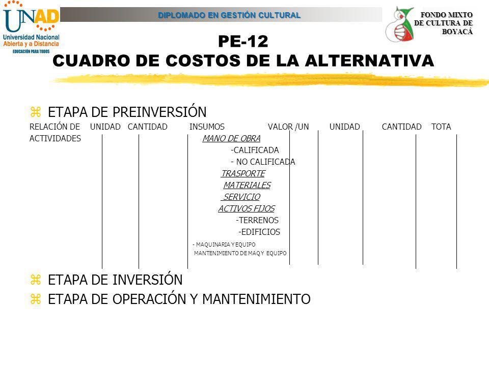 DIPLOMADO EN GESTIÓN CULTURAL FONDO MIXTO DE CULTURA DE BOYACÁ PE-12 CUADRO DE COSTOS DE LA ALTERNATIVA zETAPA DE PREINVERSIÓN RELACIÓN DE UNIDAD CANT