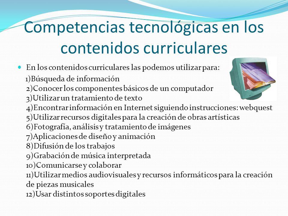 Competencias tecnológicas en los contenidos curriculares En los contenidos curriculares las podemos utilizar para: 1)Búsqueda de información 2)Conocer