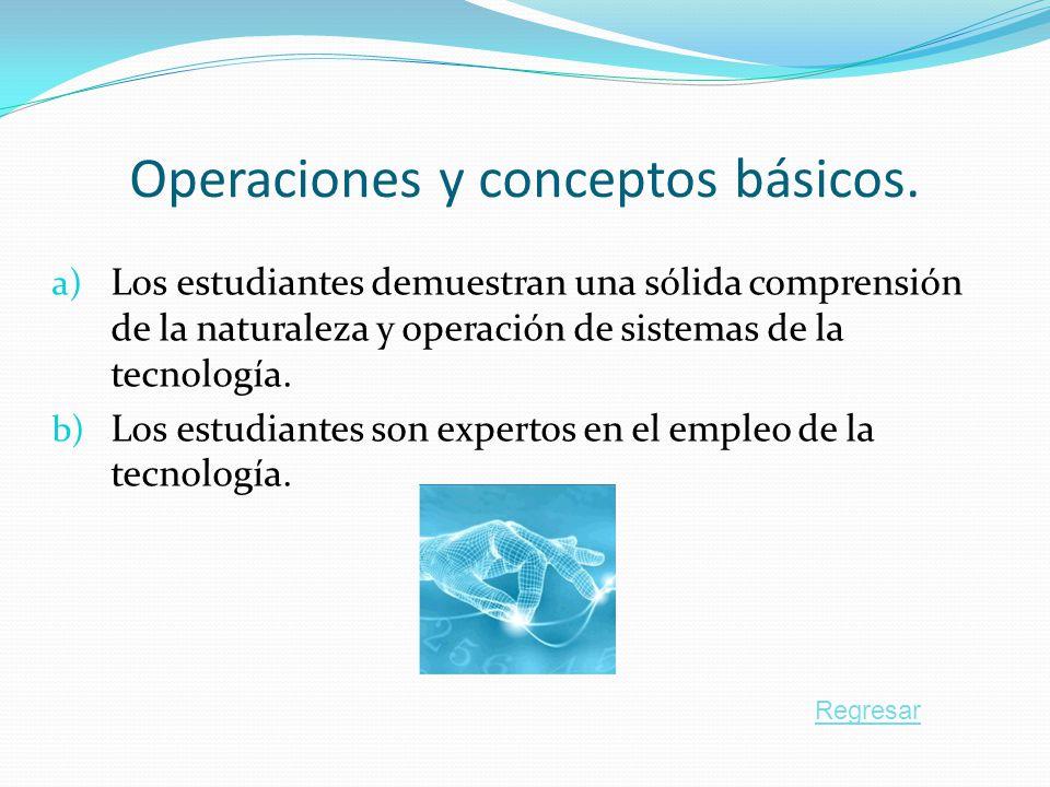 Operaciones y conceptos básicos. a) Los estudiantes demuestran una sólida comprensión de la naturaleza y operación de sistemas de la tecnología. b) Lo
