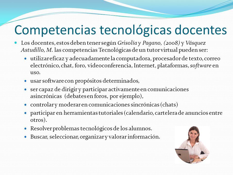 Competencias tecnológicas docentes Los docentes, estos deben tener según Grisolía y Pagano, (2008) y Vásquez Astudillo, M. las competencias Tecnológic