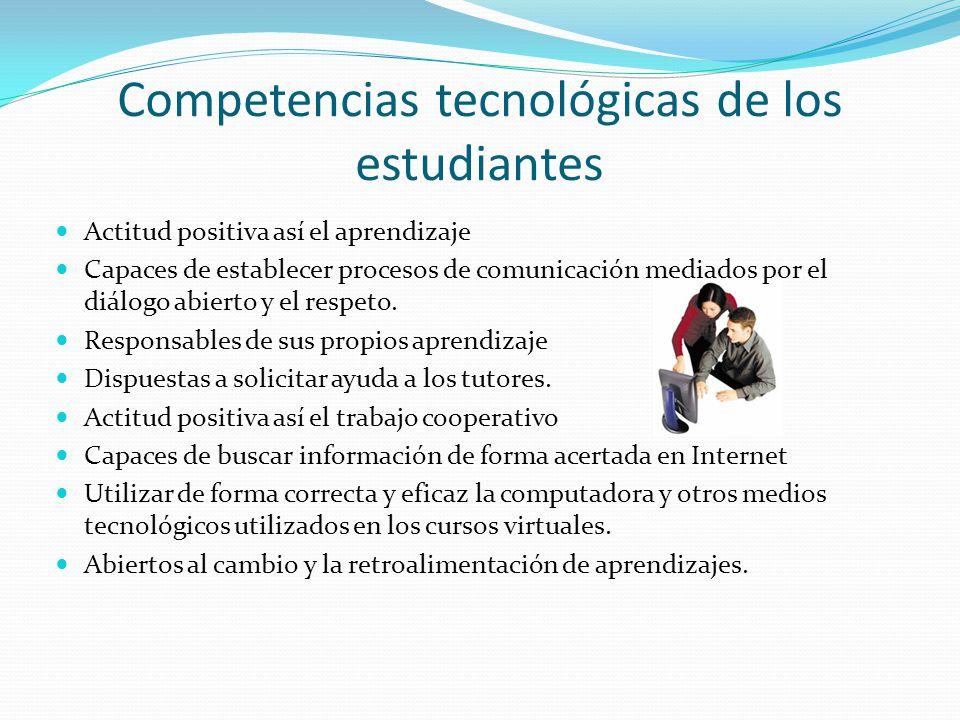 Competencias tecnológicas de los estudiantes Actitud positiva así el aprendizaje Capaces de establecer procesos de comunicación mediados por el diálog