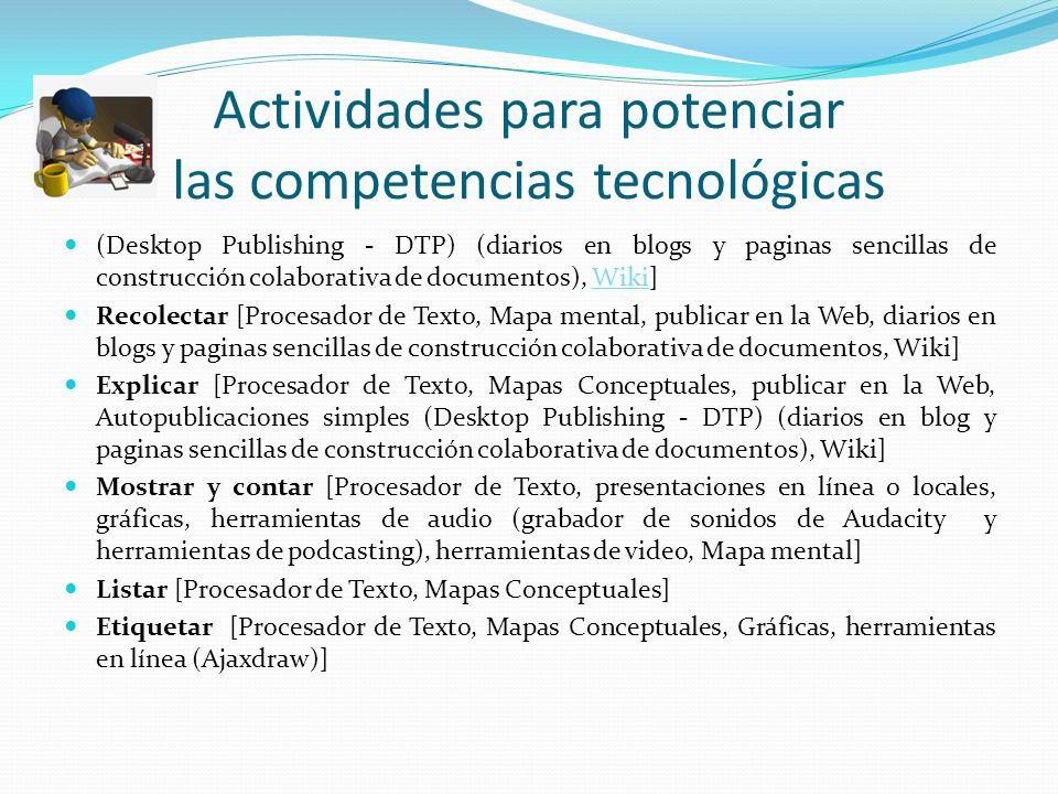 Actividades para potenciar las competencias tecnológicas (Desktop Publishing - DTP) (diarios en blogs y paginas sencillas de construcción colaborativa