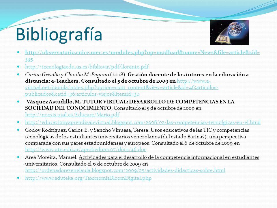 Bibliografía http://observatorio.cnice.mec.es/modules.php?op=modload&name=News&file=article&sid= 335 http://observatorio.cnice.mec.es/modules.php?op=modload&name=News&file=article&sid= 335 http://tecnologiaedu.us.es/bibliovir/pdf/llorente.pdf Carina Grisolía y Claudia M.