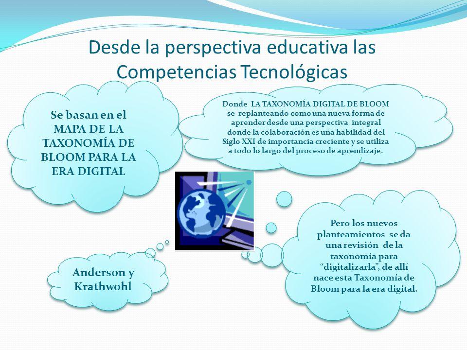 Desde la perspectiva educativa las Competencias Tecnológicas Donde LA TAXONOMÍA DIGITAL DE BLOOM se replanteando como una nueva forma de aprender desd