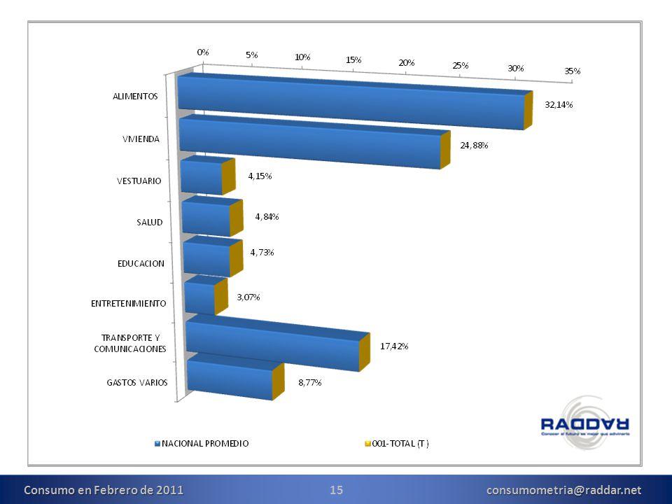 15consumometria@raddar.net Consumo en Febrero de 2011