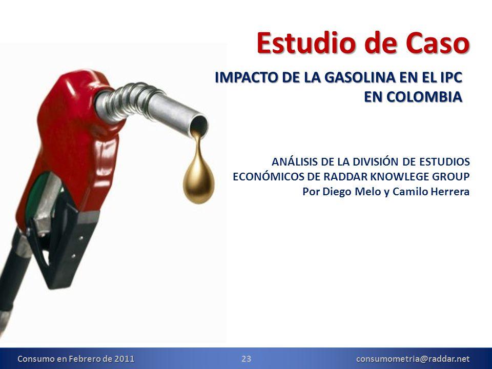 23consumometria@raddar.net Estudio de Caso IMPACTO DE LA GASOLINA EN EL IPC EN COLOMBIA Consumo en Febrero de 2011 ANÁLISIS DE LA DIVISIÓN DE ESTUDIOS