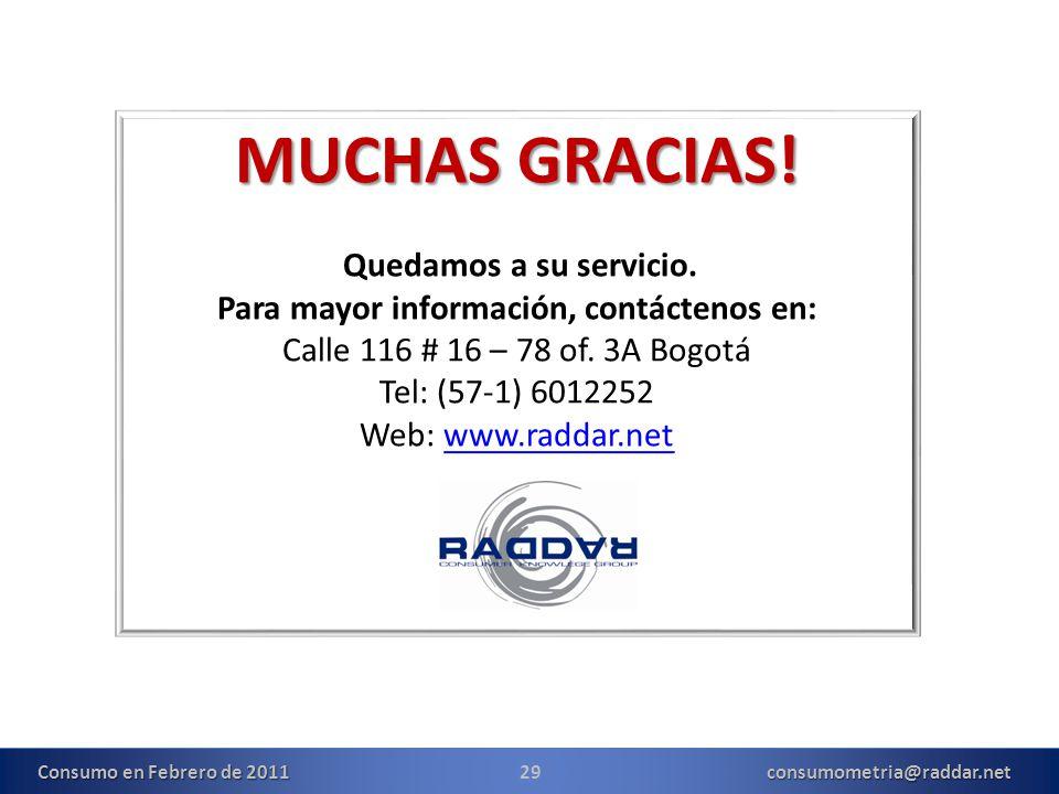 MUCHAS GRACIAS! Quedamos a su servicio. Para mayor información, contáctenos en: Calle 116 # 16 – 78 of. 3A Bogotá Tel: (57-1) 6012252 Web: www.raddar.