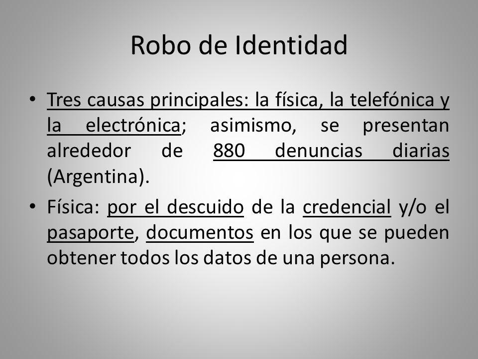 Robo de Identidad Es muy probable que ningún gobierno o corporación jamás haya conseguido reunir tanta información personal de tantos usuarios