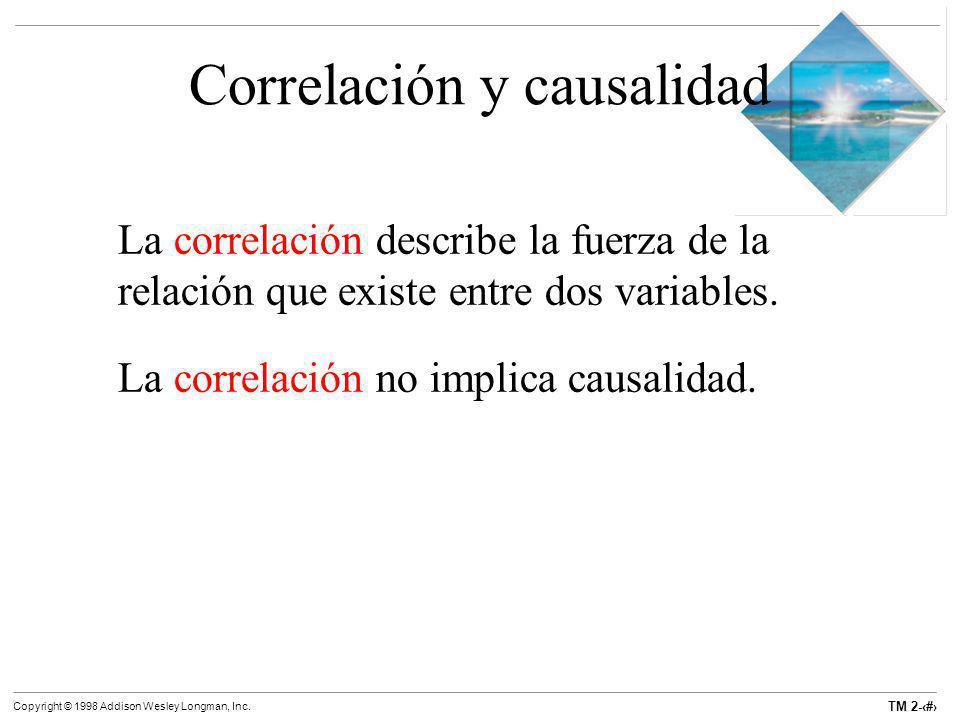 TM 2-9 Copyright © 1998 Addison Wesley Longman, Inc. Correlación y causalidad La correlación describe la fuerza de la relación que existe entre dos va
