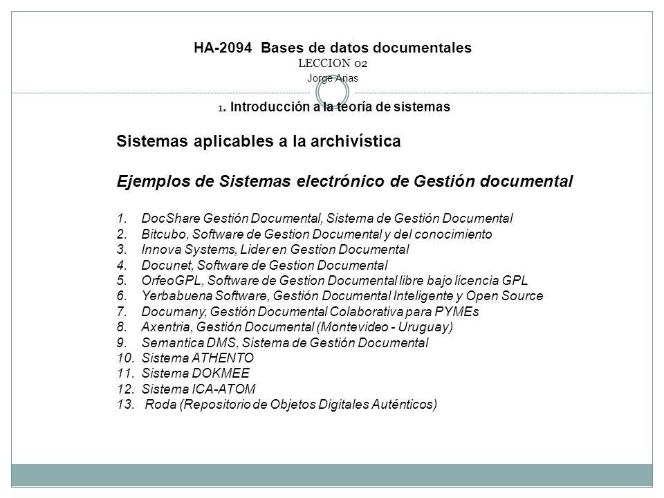 HA-2094 Bases de datos documentales LECCION 02 Jorge Arias 1. Introducción a la teoría de sistemas Sistemas aplicables a la archivística Ejemplos de S
