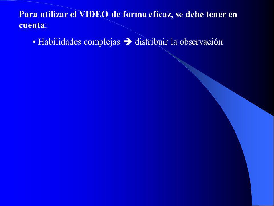 Para utilizar el VIDEO de forma eficaz, se debe tener en cuenta : Habilidades complejas distribuir la observación
