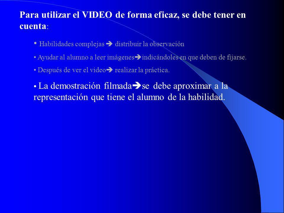 Para utilizar el VIDEO de forma eficaz, se debe tener en cuenta : Habilidades complejas distribuir la observación Ayudar al alumno a leer imágenes ind