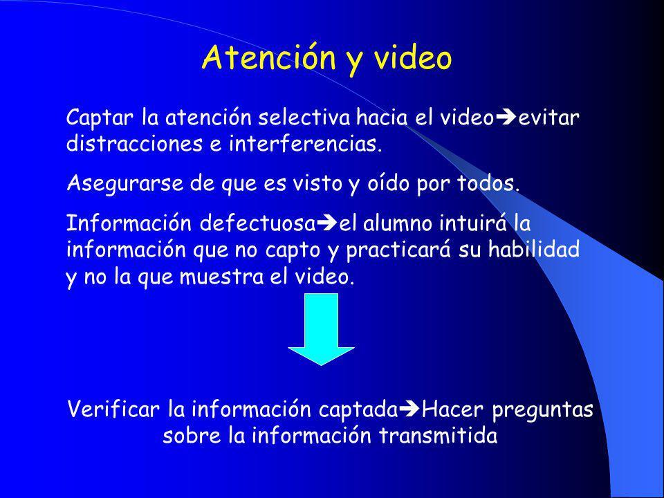 Atención y video Captar la atención selectiva hacia el video evitar distracciones e interferencias. Asegurarse de que es visto y oído por todos. Infor