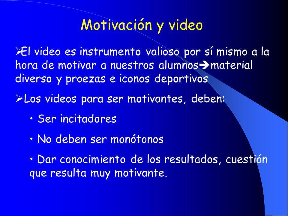 Motivación y video El video es instrumento valioso por sí mismo a la hora de motivar a nuestros alumnos material diverso y proezas e iconos deportivos