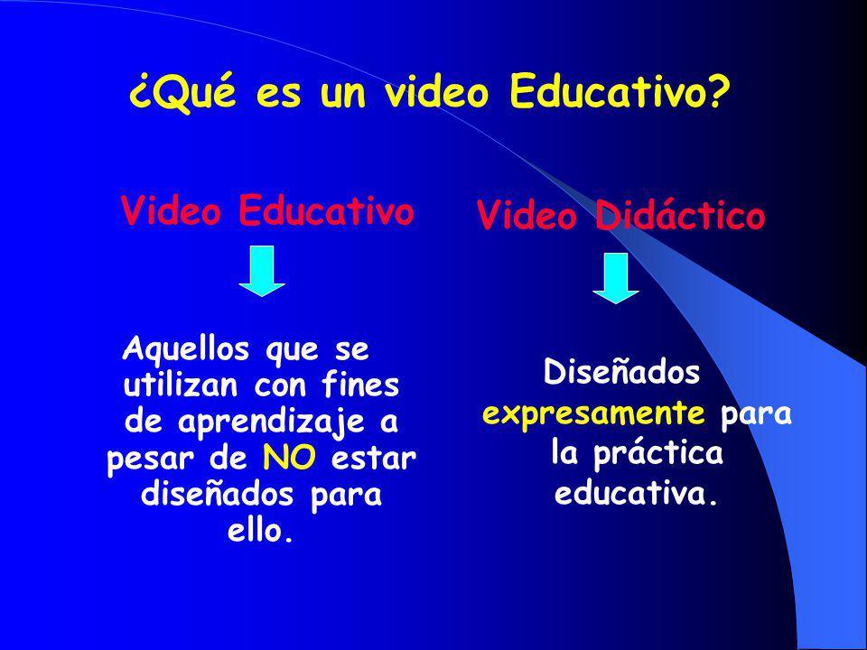 ¿Qué es un video Educativo? Video Educativo Aquellos que se utilizan con fines de aprendizaje a pesar de NO estar diseñados para ello. Video Didáctico