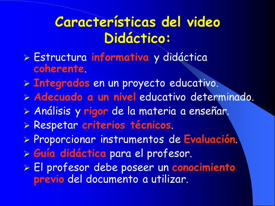 Características del video Didáctico: Estructura informativa y didáctica coherente. Integrados en un proyecto educativo. Adecuado a un nivel educativo