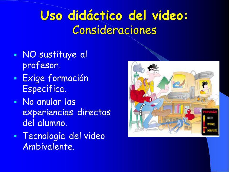 Uso didáctico del video: Consideraciones NO sustituye al profesor. Exige formación Específica. No anular las experiencias directas del alumno. Tecnolo