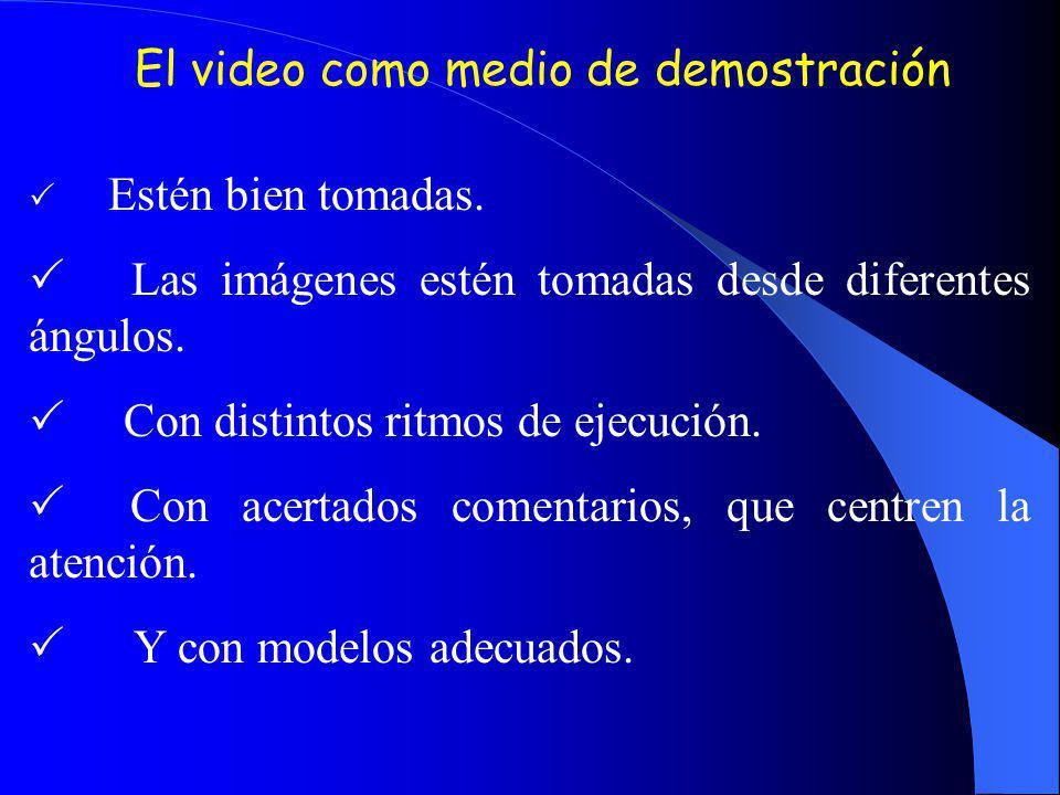 El video como medio de demostración Estén bien tomadas. Las imágenes estén tomadas desde diferentes ángulos. Con distintos ritmos de ejecución. Con ac