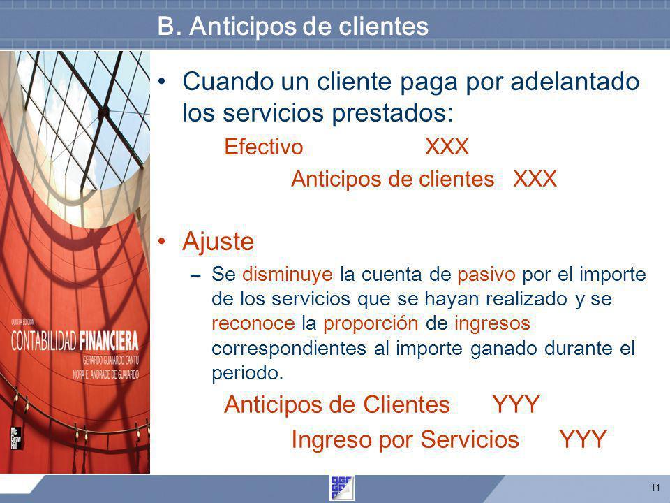 11 B. Anticipos de clientes Cuando un cliente paga por adelantado los servicios prestados: Efectivo XXX Anticipos de clientes XXX Ajuste –Se disminuye