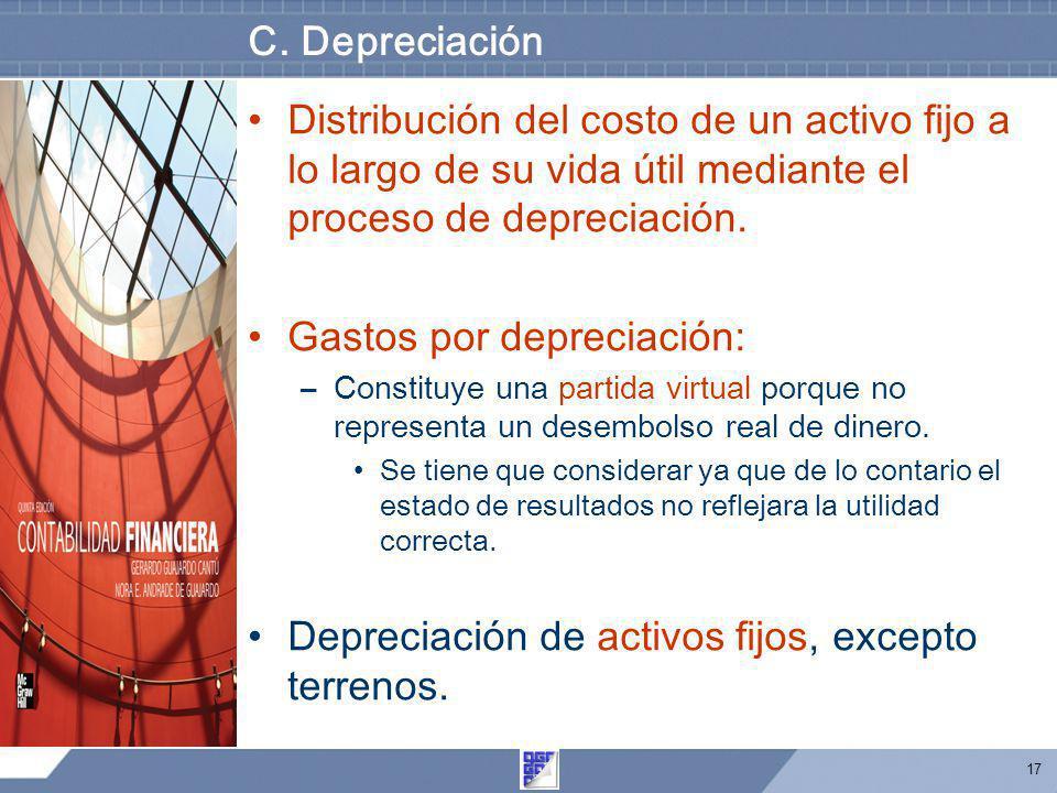 17 C. Depreciación Distribución del costo de un activo fijo a lo largo de su vida útil mediante el proceso de depreciación. Gastos por depreciación: –