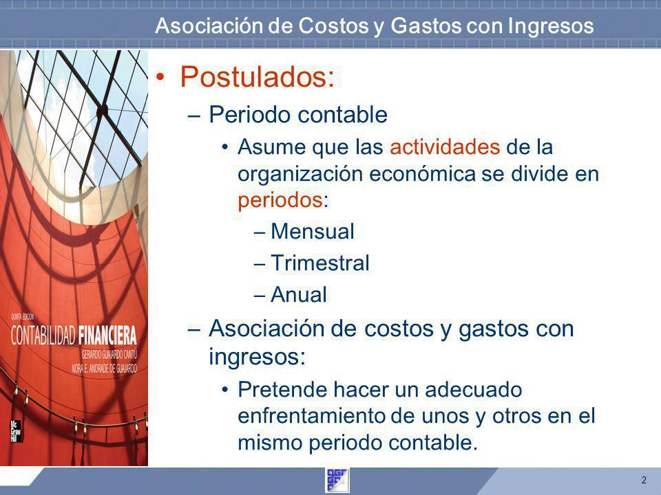 2 Asociación de Costos y Gastos con Ingresos Postulados: –Periodo contable Asume que las actividades de la organización económica se divide en periodo