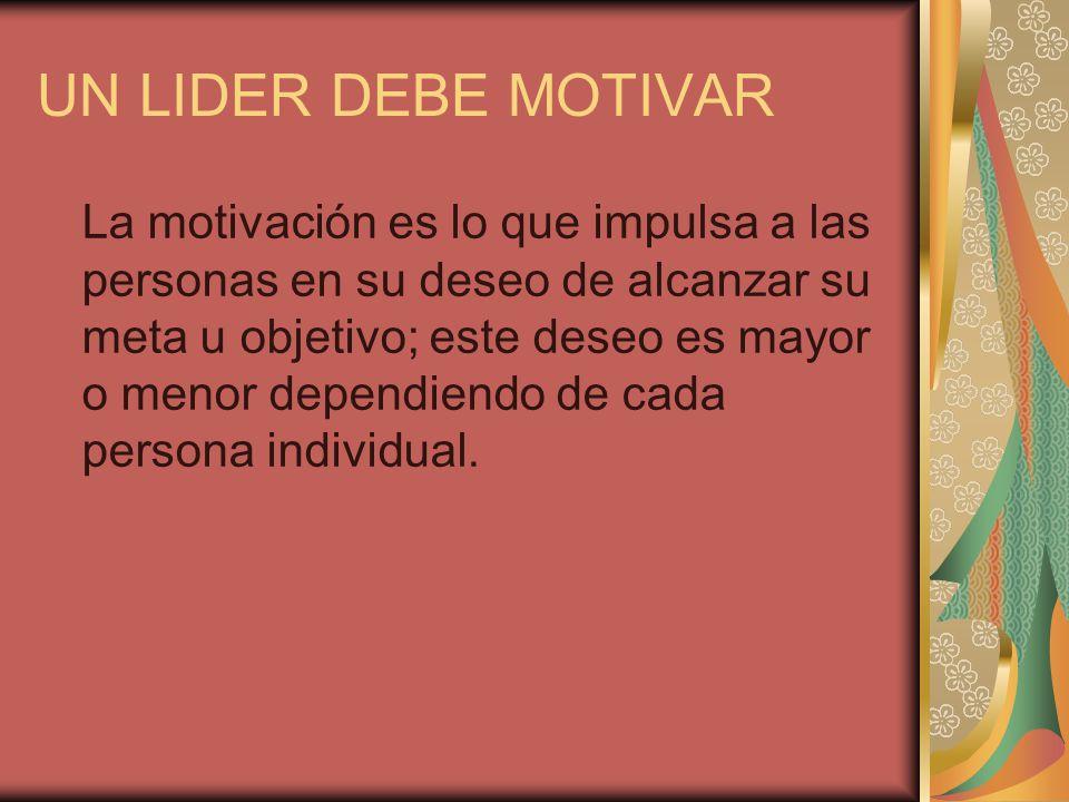 UN LIDER DEBE MOTIVAR La motivación es lo que impulsa a las personas en su deseo de alcanzar su meta u objetivo; este deseo es mayor o menor dependien