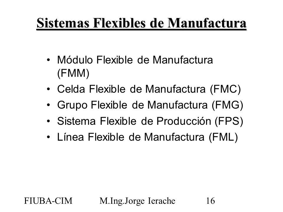 FIUBA-CIMM.Ing.Jorge Ierache16 Módulo Flexible de Manufactura (FMM) Celda Flexible de Manufactura (FMC) Grupo Flexible de Manufactura (FMG) Sistema Fl