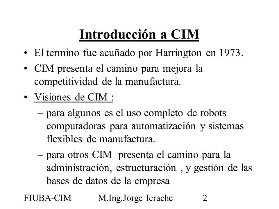 FIUBA-CIMM.Ing.Jorge Ierache3 John W Bernard define a CIM como:la integración de las computadoras digitales en todos los aspectos del proceso de manufactura (asistencia computarizada, automatización y control) CIM facilita la integración de las actividades del negocio y de las actividades de manufactura representadas por: Introducción a CIM