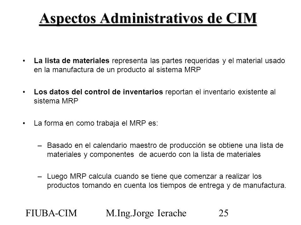 FIUBA-CIMM.Ing.Jorge Ierache25 La lista de materiales representa las partes requeridas y el material usado en la manufactura de un producto al sistema