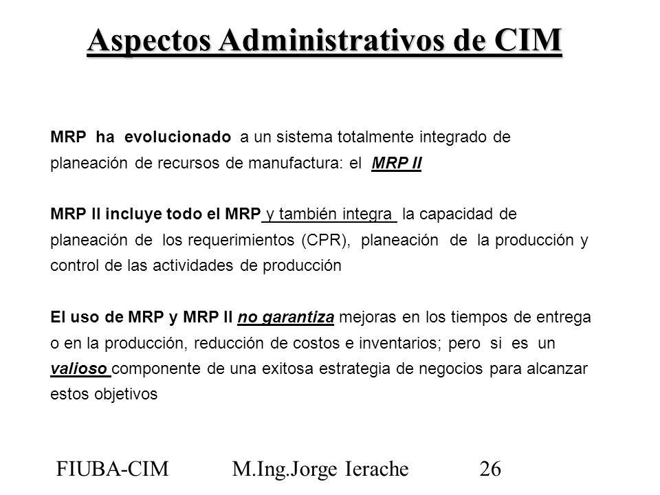 FIUBA-CIMM.Ing.Jorge Ierache26 MRP ha evolucionado a un sistema totalmente integrado de planeación de recursos de manufactura: el MRP II MRP II incluy