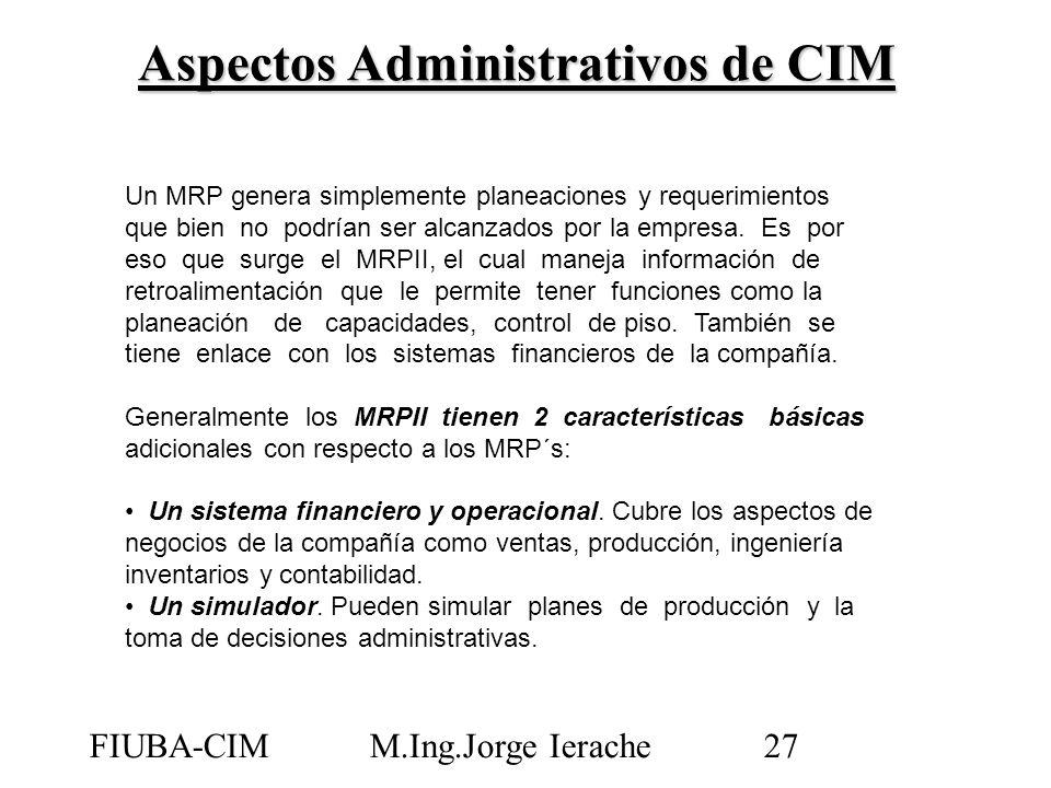 FIUBA-CIMM.Ing.Jorge Ierache27 Un MRP genera simplemente planeaciones y requerimientos que bien no podrían ser alcanzados por la empresa. Es por eso q