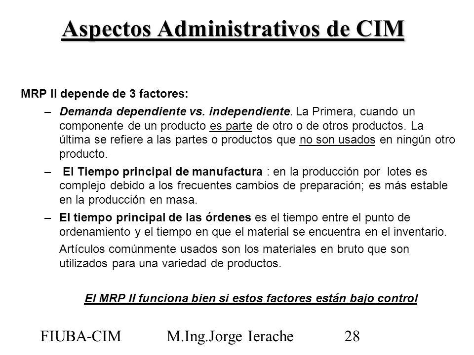 FIUBA-CIMM.Ing.Jorge Ierache28 MRP II depende de 3 factores: –Demanda dependiente vs. independiente. La Primera, cuando un componente de un producto e