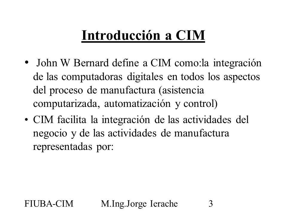 FIUBA-CIMM.Ing.Jorge Ierache3 John W Bernard define a CIM como:la integración de las computadoras digitales en todos los aspectos del proceso de manuf