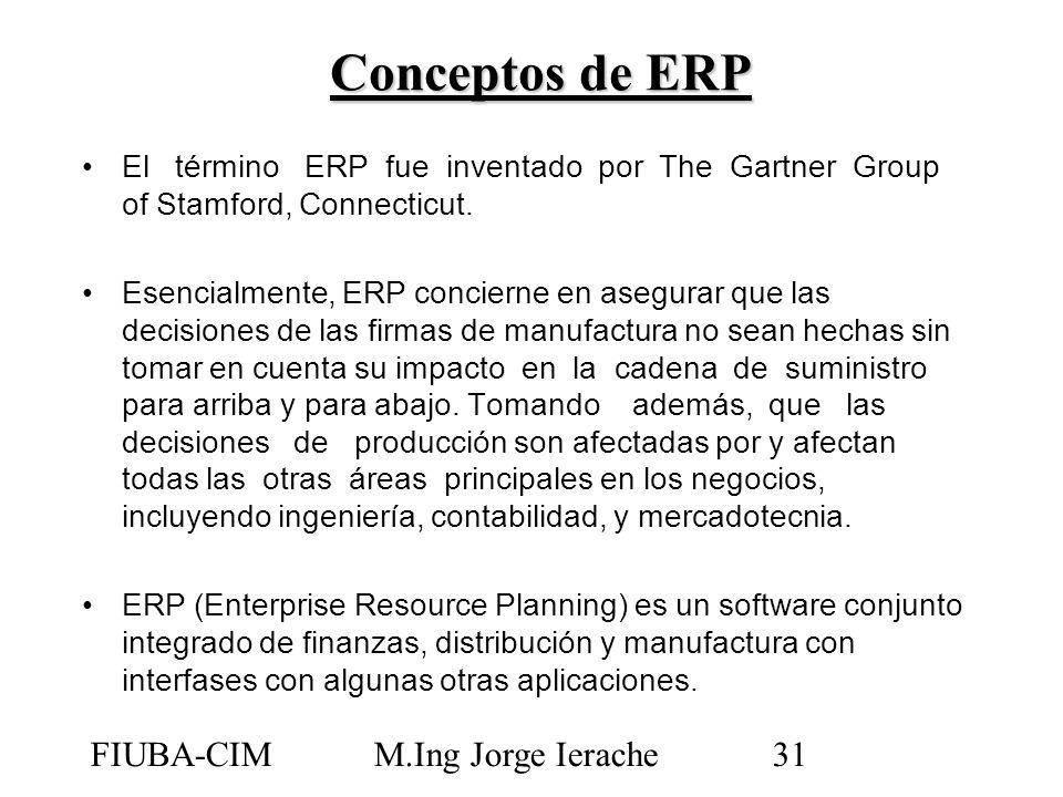 FIUBA-CIMM.Ing Jorge Ierache31 El término ERP fue inventado por The Gartner Group of Stamford, Connecticut. Esencialmente, ERP concierne en asegurar q