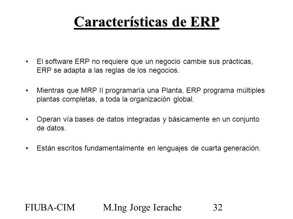 FIUBA-CIMM.Ing Jorge Ierache32 El software ERP no requiere que un negocio cambie sus prácticas, ERP se adapta a las reglas de los negocios. Mientras q