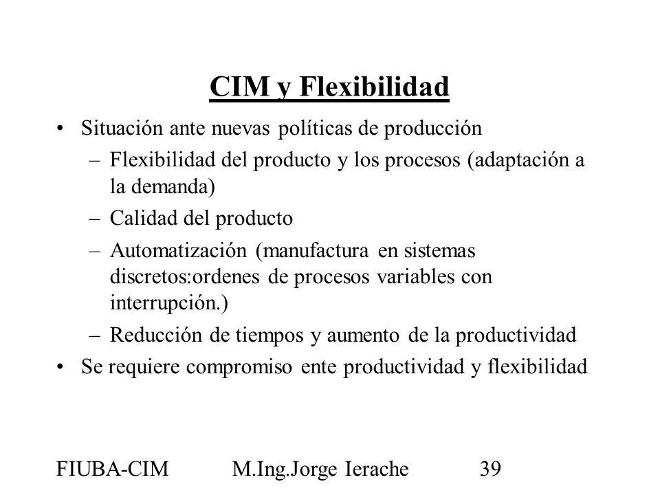 FIUBA-CIMM.Ing.Jorge Ierache39 CIM y Flexibilidad Situación ante nuevas políticas de producción –Flexibilidad del producto y los procesos (adaptación