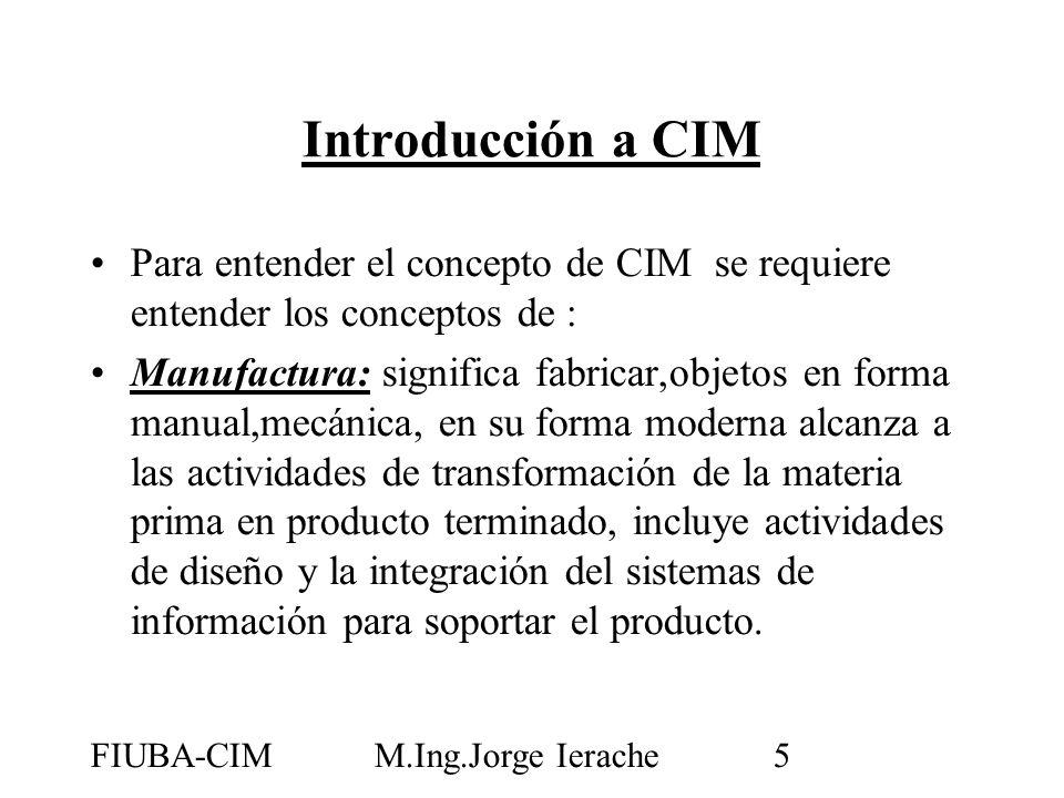 FIUBA-CIMM.Ing.Jorge Ierache5 Introducción a CIM Para entender el concepto de CIM se requiere entender los conceptos de : Manufactura: significa fabri