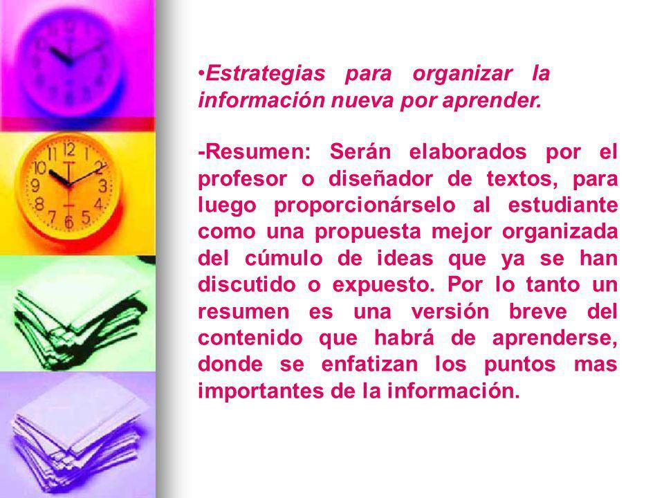 Estrategias para organizar la información nueva por aprender. -Resumen: Serán elaborados por el profesor o diseñador de textos, para luego proporcioná