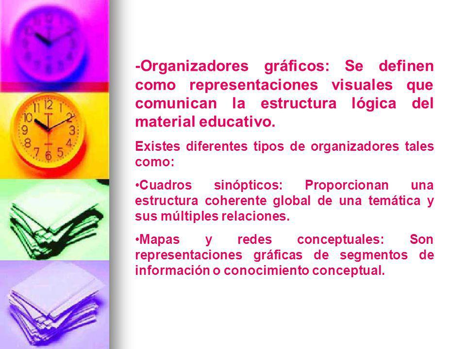 -Organizadores gráficos: Se definen como representaciones visuales que comunican la estructura lógica del material educativo. Existes diferentes tipos